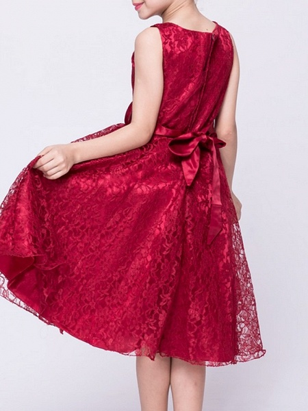 A-Line V Neck Knee Length Lace Junior Bridesmaid Dress With Sash / Ribbon_8