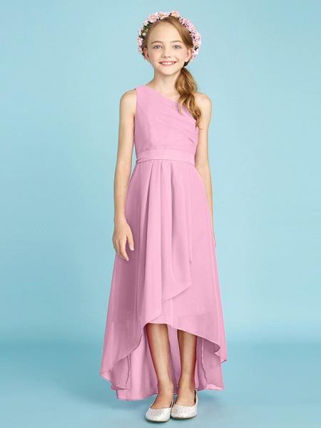 A-Line One Shoulder Asymmetrical Chiffon Junior Bridesmaid Dress With Sash / Ribbon / Bow(S) / Side Draping / Natural_14