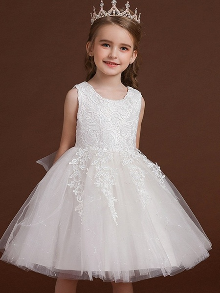 Princess / Ball Gown Knee Length Wedding / Party Flower Girl Dresses - Lace / Tulle Sleeveless Jewel Neck With Bow(S) / Appliques_2