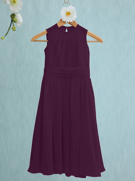 Sheath / Column Jewel Neck Knee Length Chiffon Junior Bridesmaid Dress With Ruched / Natural_15