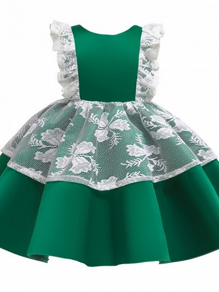 Princess / Ball Gown Knee Length Wedding / Party Flower Girl Dresses - Satin / Tulle Cap Sleeve Jewel Neck With Bow(S) / Color Block_6