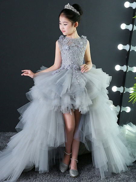 A-Line Asymmetrical Wedding / Pageant Flower Girl Dresses - Tulle Sleeveless Jewel Neck With Tier / Appliques_3