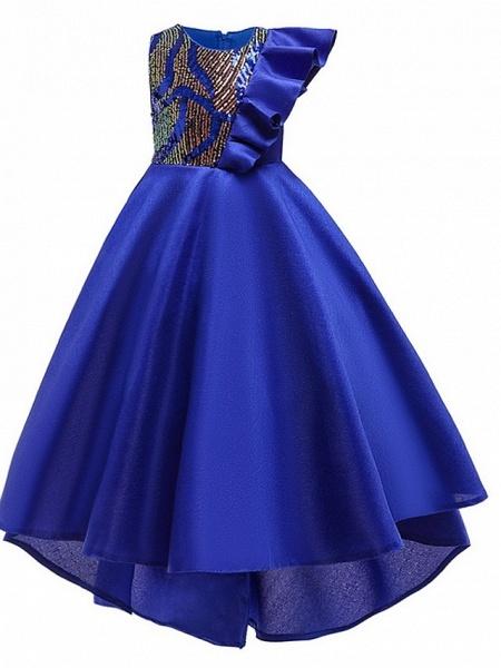 A-Line Round Asymmetrical Cotton Junior Bridesmaid Dress With Bow(S) / Ruffles_4