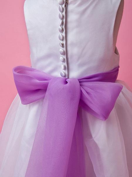 Princess / A-Line Floor Length Wedding Party Organza / Satin Sleeveless Jewel Neck With Sash / Ribbon / Buttons / Draping / Spring / Fall / Winter_6