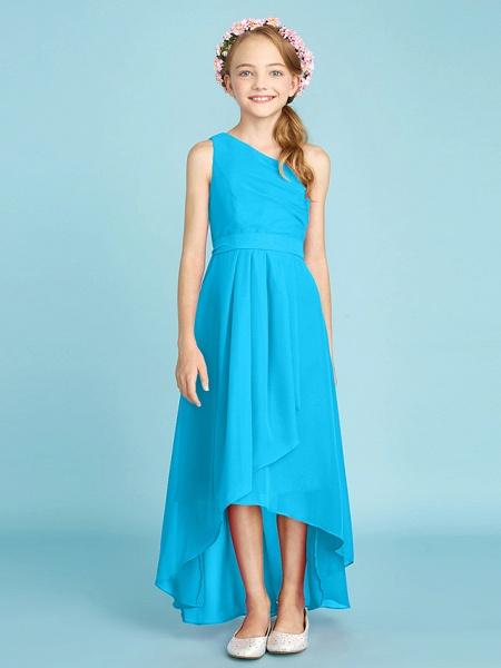 A-Line One Shoulder Asymmetrical Chiffon Junior Bridesmaid Dress With Sash / Ribbon / Bow(S) / Side Draping / Natural_35