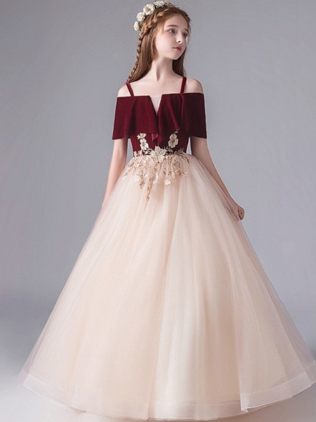 A-Line Floor Length Party / Pageant Flower Girl Dresses - Polyester Short Sleeve Spaghetti Strap With Appliques_4