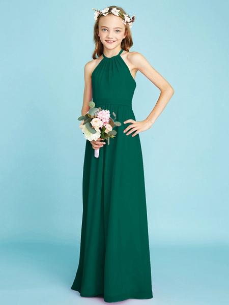 A-Line Halter Neck Floor Length Chiffon Junior Bridesmaid Dress With Sash / Ribbon / Natural_27