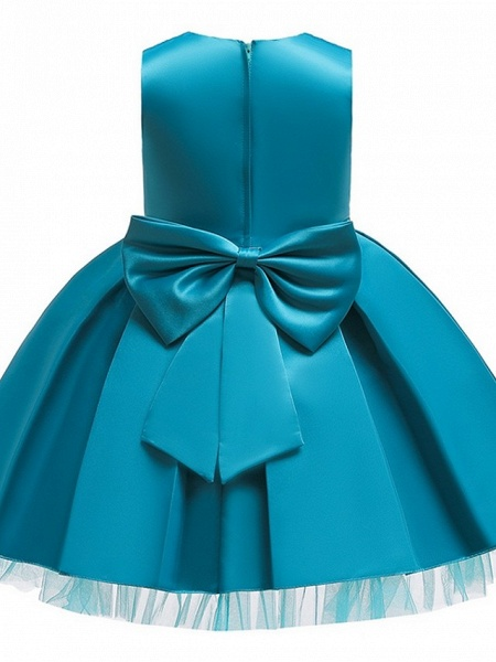 Princess / Ball Gown Knee Length Wedding / Party Flower Girl Dresses - Tulle Sleeveless V Neck With Sash / Ribbon / Bow(S) / Appliques_11