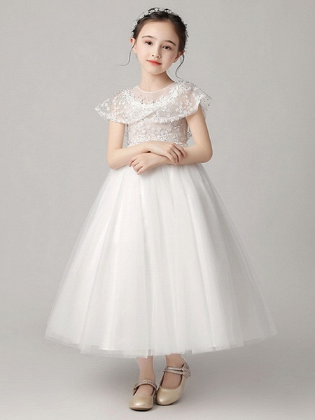 Princess Ankle Length Party / Pageant Flower Girl Dresses - Polyester Short Sleeve Jewel Neck With Lace_6