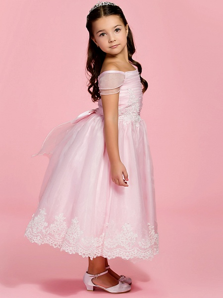Princess / A-Line Ankle Length First Communion / Wedding Party Organza Short Sleeve Bateau Neck / Off Shoulder With Bow(S) / Ruched / Appliques / Spring / Summer / Fall_2