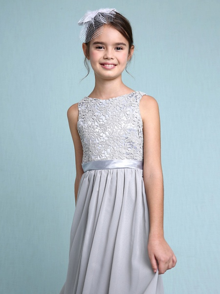 Sheath / Column Bateau Neck Floor Length Chiffon / Lace Junior Bridesmaid Dress With Lace / Natural_9