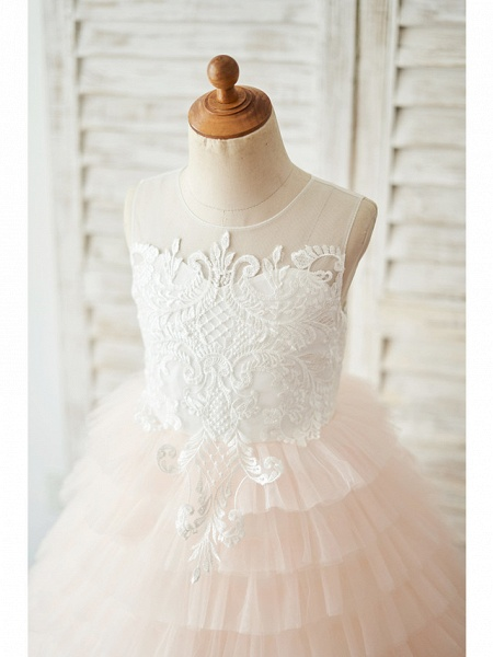 Ball Gown Floor Length Wedding / Birthday Flower Girl Dresses - Lace / Tulle Sleeveless Jewel Neck With Lace / Buttons_3