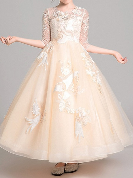 Ball Gown Ankle Length Pageant Flower Girl Dresses - Polyester Half Sleeve Jewel Neck With Embroidery / Appliques_2