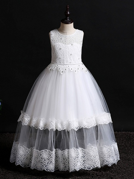 Princess Floor Length Wedding / Birthday Lace / Tulle / Polyester Sleeveless Jewel Neck With Lace / Bow(S) / Pearls_1