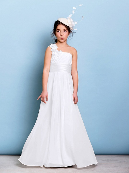 A-Line One Shoulder Floor Length Chiffon Junior Bridesmaid Dress With Sash / Ribbon / Criss Cross / Ruched / Natural_18