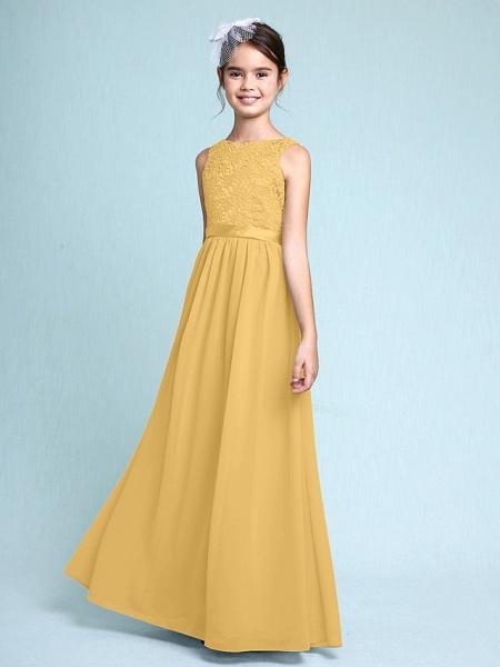 Sheath / Column Bateau Neck Floor Length Chiffon / Lace Junior Bridesmaid Dress With Lace / Natural_23