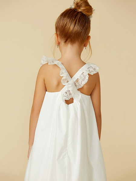 A-Line Ankle Length Wedding / First Communion Flower Girl Dresses - Lace / Cotton Sleeveless Straps With Pleats_8