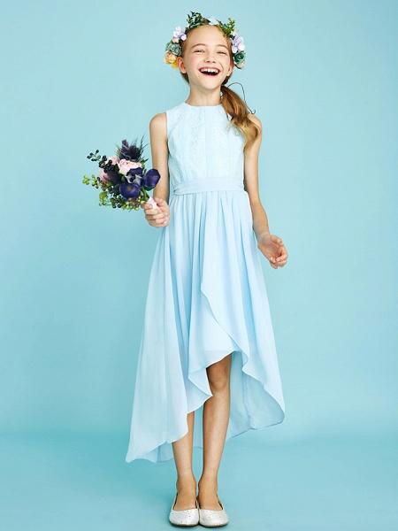 Sheath / Column Jewel Neck Asymmetrical Chiffon / Lace Junior Bridesmaid Dress With Pleats / Natural_7