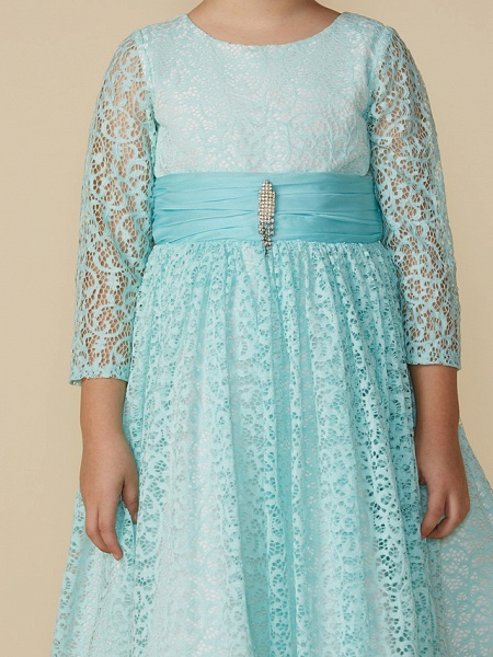 A-Line Tea Length Party / Birthday Lace 3/4 Length Sleeve Jewel Neck With Sash / Ribbon / Crystal Brooch_4