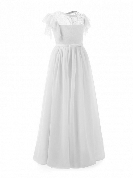Sheath / Column Long Length Party / Birthday / First Communion Flower Girl Dresses - Chiffon / Lace Short Sleeve Jewel Neck With Lace / Butterfly_2