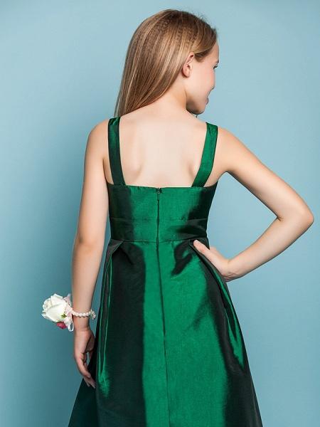 A-Line Straps Asymmetrical Taffeta Junior Bridesmaid Dress With Sash / Ribbon / Spring / Summer / Fall / Apple / Hourglass_6