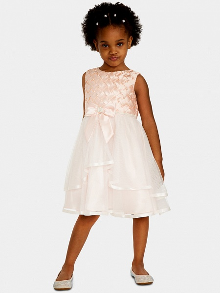 A-Line Knee Length Wedding / Party Flower Girl Dresses - Satin / Tulle Sleeveless Jewel Neck With Bow(S) / Appliques_3