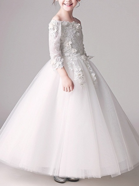 Ball Gown Floor Length First Communion Flower Girl Dresses - Polyester 3/4 Length Sleeve Off Shoulder With Appliques_2