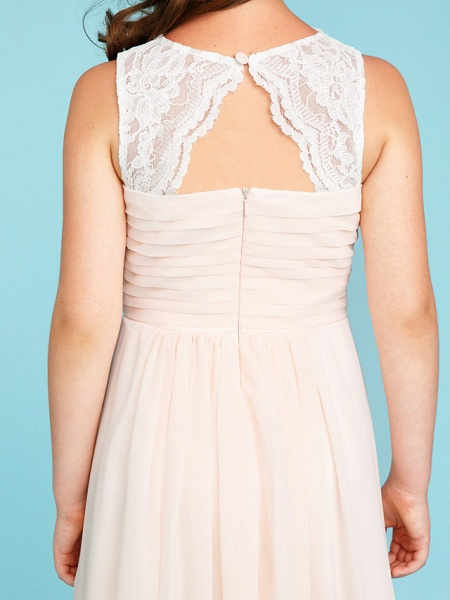 Princess / A-Line Strap Floor Length Chiffon / Lace Junior Bridesmaid Dress With Ruched / Side-Draped / Wedding Party_8