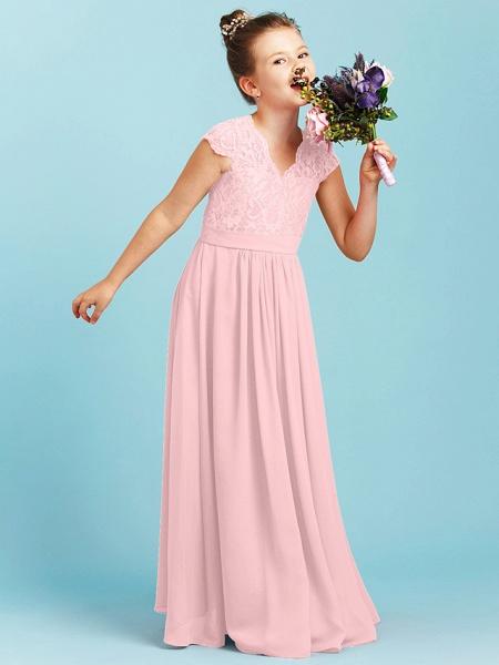 Princess / A-Line V Neck Floor Length Chiffon / Lace Junior Bridesmaid Dress With Sash / Ribbon / Pleats / Wedding Party_19