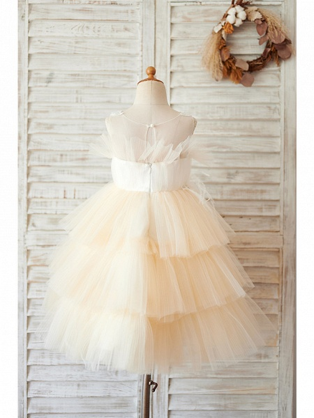 Ball Gown Knee Length Wedding / Birthday Flower Girl Dresses - Tulle Sleeveless Jewel Neck With Feathers / Fur / Lace / Beading_2
