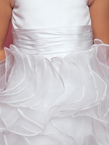 Princess / A-Line Floor Length Organza / Satin Sleeveless Straps With Sash / Ribbon / Ruched / Cascading Ruffles_8