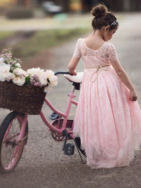 Ball Gown Asymmetrical Wedding / Party Flower Girl Dresses - Satin / Taffeta / Tulle Short Sleeve V Neck With Appliques / Solid_2