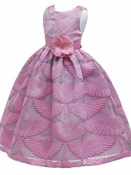 Princess Round Floor Length Cotton Junior Bridesmaid Dress With Bow(S)_4