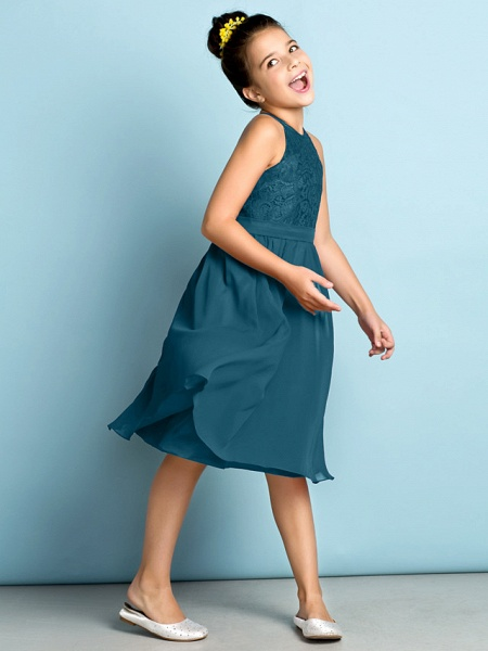 A-Line Jewel Neck Knee Length Chiffon / Lace Junior Bridesmaid Dress With Lace / Natural / Mini Me_44