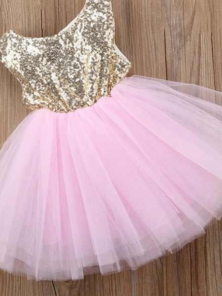 Ball Gown Knee Length Wedding / Party Flower Girl Dresses - Tulle Sleeveless Jewel Neck With Paillette_5