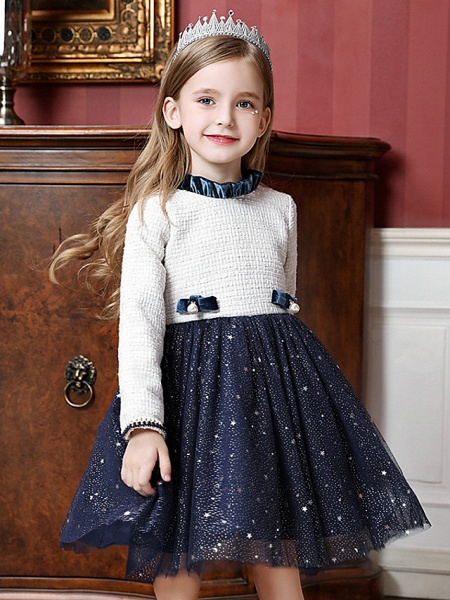 Princess / Ball Gown Knee Length Wedding / Party Flower Girl Dresses - Tulle Long Sleeve High Neck With Splicing_1