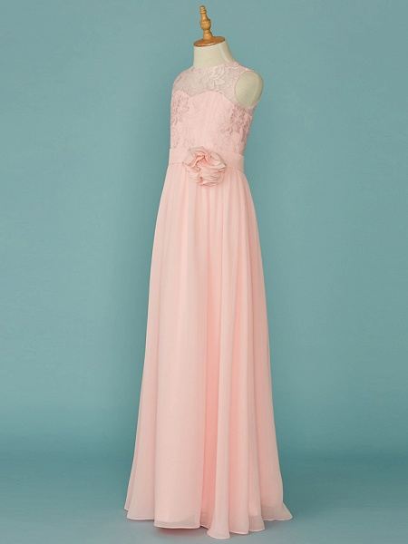 A-Line Jewel Neck Floor Length Chiffon / Lace Junior Bridesmaid Dress With Lace / Sash / Ribbon_3
