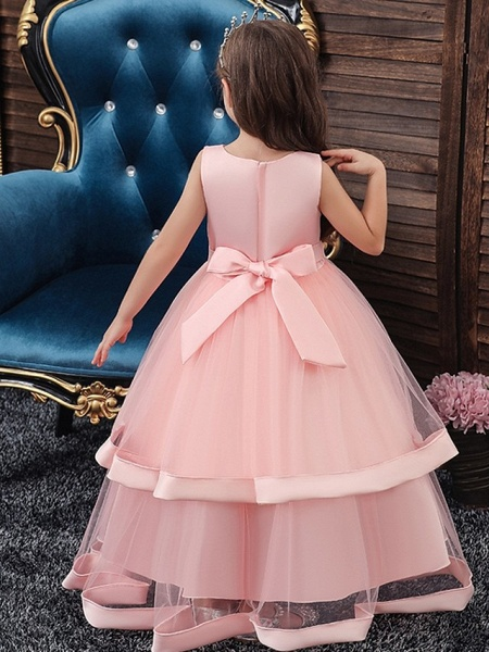 Princess / Ball Gown Floor Length Wedding / Party Flower Girl Dresses - Tulle Sleeveless V Neck With Sash / Ribbon / Bow(S) / Tier_3