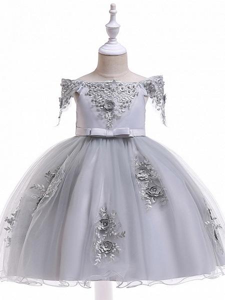 A-Line Knee Length Wedding / Birthday / Pageant Flower Girl Dresses - Tulle Short Sleeve Off Shoulder With Petal / Sash / Ribbon / Trim_7