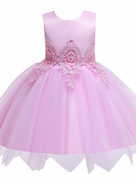 Princess / Ball Gown Knee Length Wedding / Party Flower Girl Dresses - Lace / Satin / Tulle Sleeveless Jewel Neck With Appliques_4