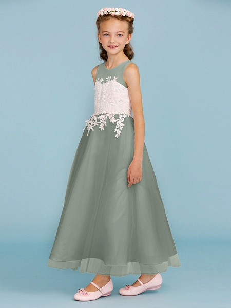 Princess / A-Line Jewel Neck Ankle Length Lace / Tulle Junior Bridesmaid Dress With Sash / Ribbon / Appliques / Wedding Party / Open Back_34