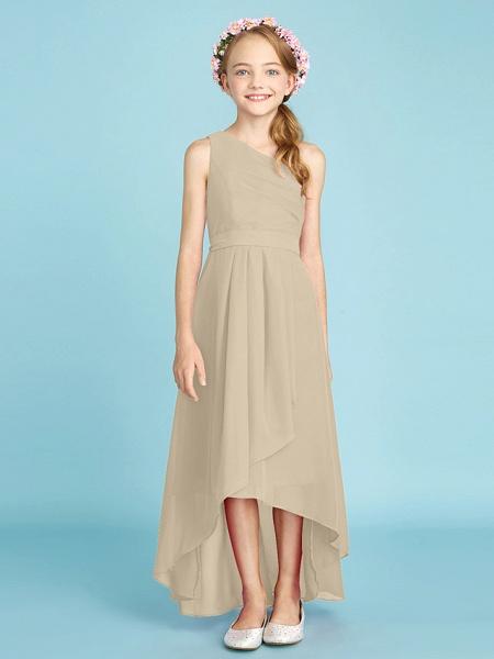 A-Line One Shoulder Asymmetrical Chiffon Junior Bridesmaid Dress With Sash / Ribbon / Bow(S) / Side Draping / Natural_24
