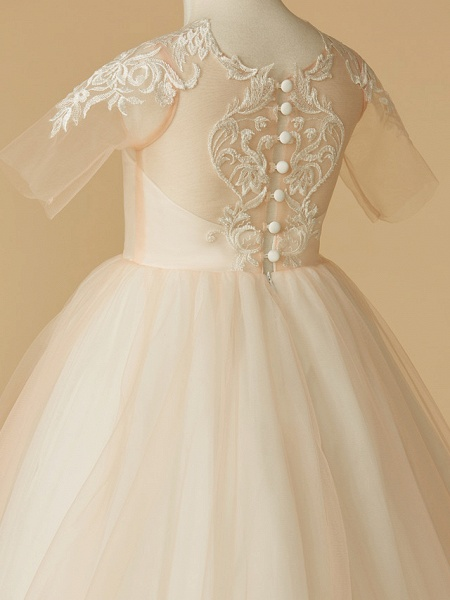 A-Line Sweep / Brush Train Wedding / First Communion / Pageant Flower Girl Dresses - Tulle Half Sleeve Jewel Neck With Appliques_5