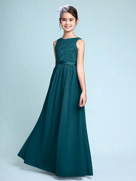 Sheath / Column Bateau Neck Floor Length Chiffon / Lace Junior Bridesmaid Dress With Lace / Natural_35