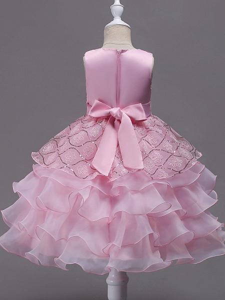 Princess Midi Wedding / Birthday / Pageant Flower Girl Dresses - Organza / Satin Sleeveless Jewel Neck With Bow(S) / Embroidery / Crystals / Rhinestones_4