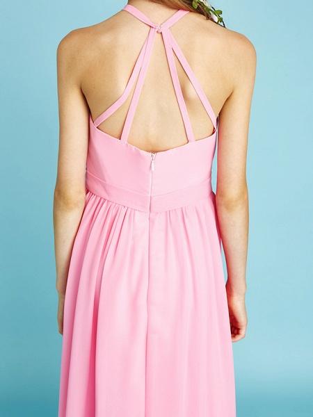 A-Line Halter Neck Floor Length Chiffon Junior Bridesmaid Dress With Sash / Ribbon / Natural_10