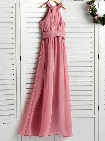A-Line Halter Neck Maxi Chiffon Junior Bridesmaid Dress With Beading / Ruching_3