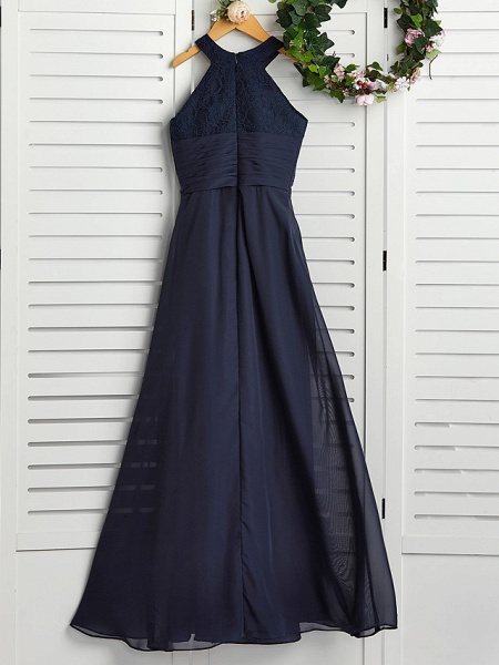 A-Line Jewel Neck Maxi Chiffon Junior Bridesmaid Dress With Pearls / Wedding Party_2