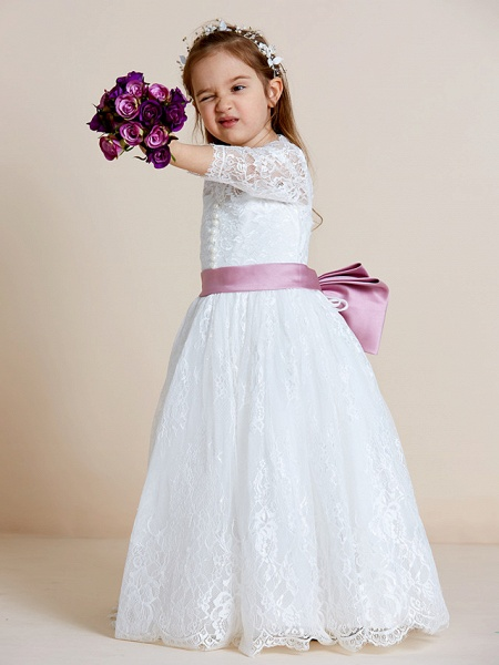 Ball Gown Floor Length Wedding / First Communion Flower Girl Dresses - Lace / Tulle Long Sleeve V Neck With Lace / Sash / Ribbon / Bow(S)_4