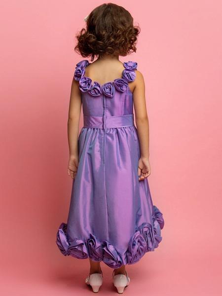 Princess / A-Line Tea Length Taffeta Sleeveless Spaghetti Strap With Sash / Ribbon / Flower_3
